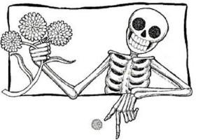 Calaca con flores